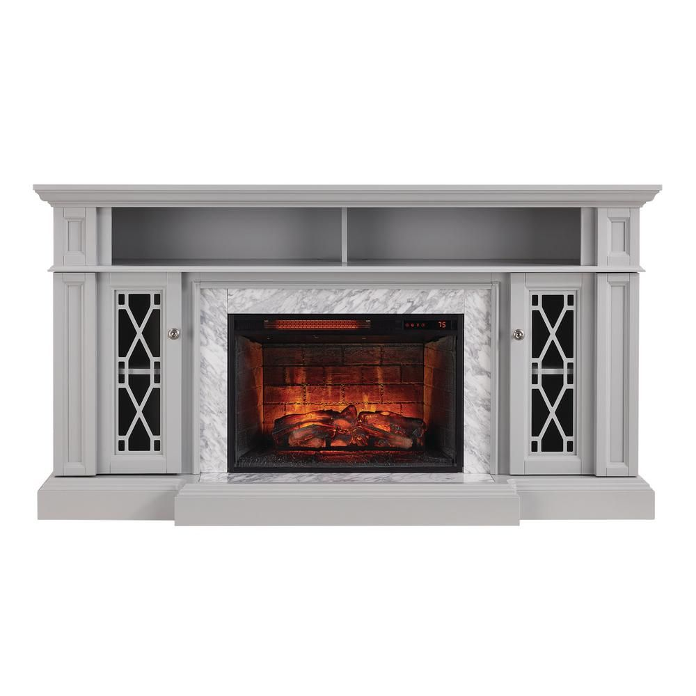 Home Decorators Collection Parkbridge 68 In Freestanding Infrared Electric Fireplace Tv Stand In Gray With Carrara Marble Surround 1357fmm 26 242 The Home De In 2020 Fireplace Tv Stand Electric Fireplace Tv Stand Fireplace Tv