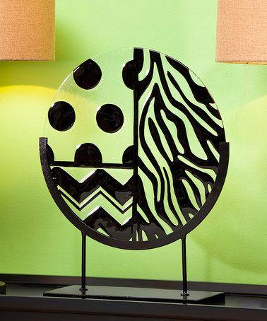 Look at this #zulilyfind! Black Polka Dot Zebra Hand-Painted Glass & Stand #zulilyfinds
