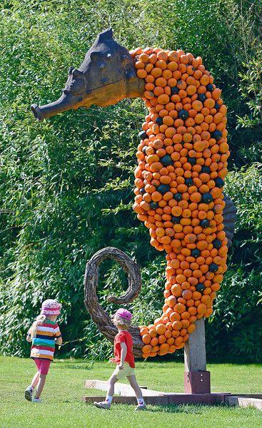 Children run around a sea horse sculpture designed with pumpkins during the prep…