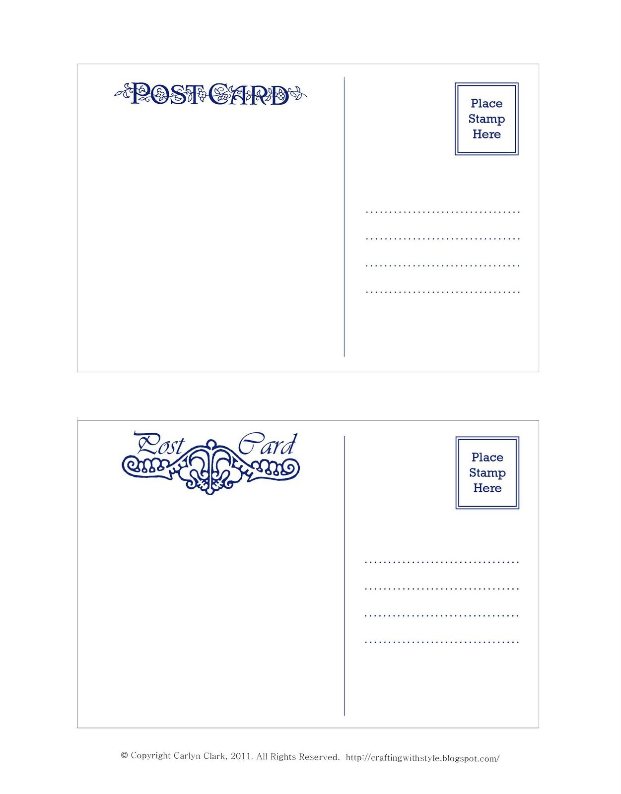Crafting With Style: Free Postcard Templates