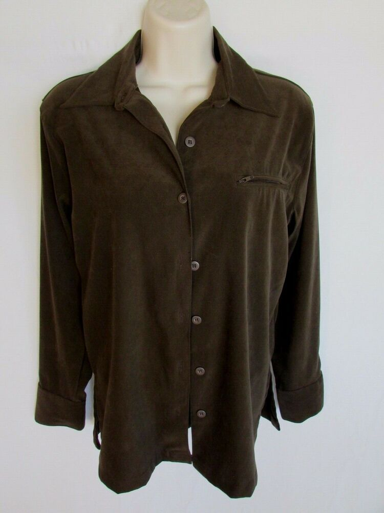 a70165e1a33097 SHAVER LAKE SHIRT S brown sueded button poly stretch long sleeve #fashion  #clothing #