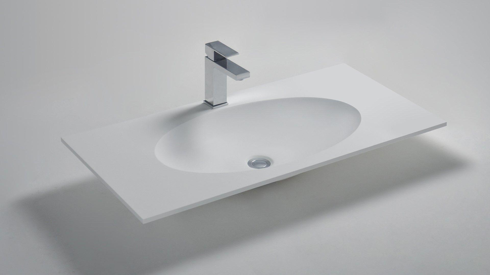 Solid Surface Wastafel : Solid surface wastafel solidzelig 900x460x100mm mat wit wastafel