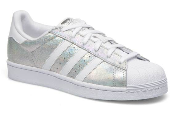 zapatillas adidas superstar blancas y plateadas