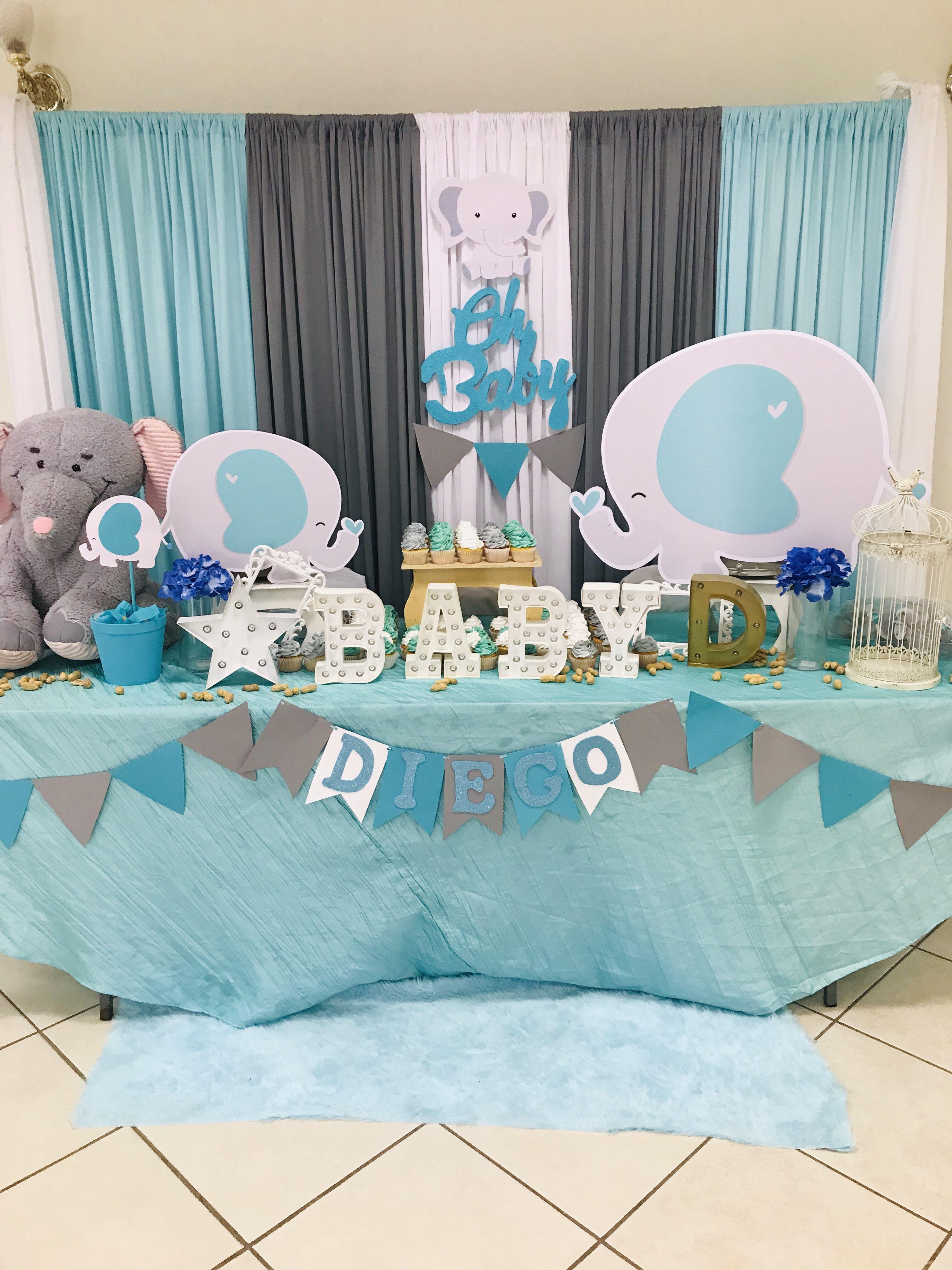 Mesa Principal De Baby Shower Nino.Baby Shower Mesa Principal Elefantitos Baby Elephant Baby