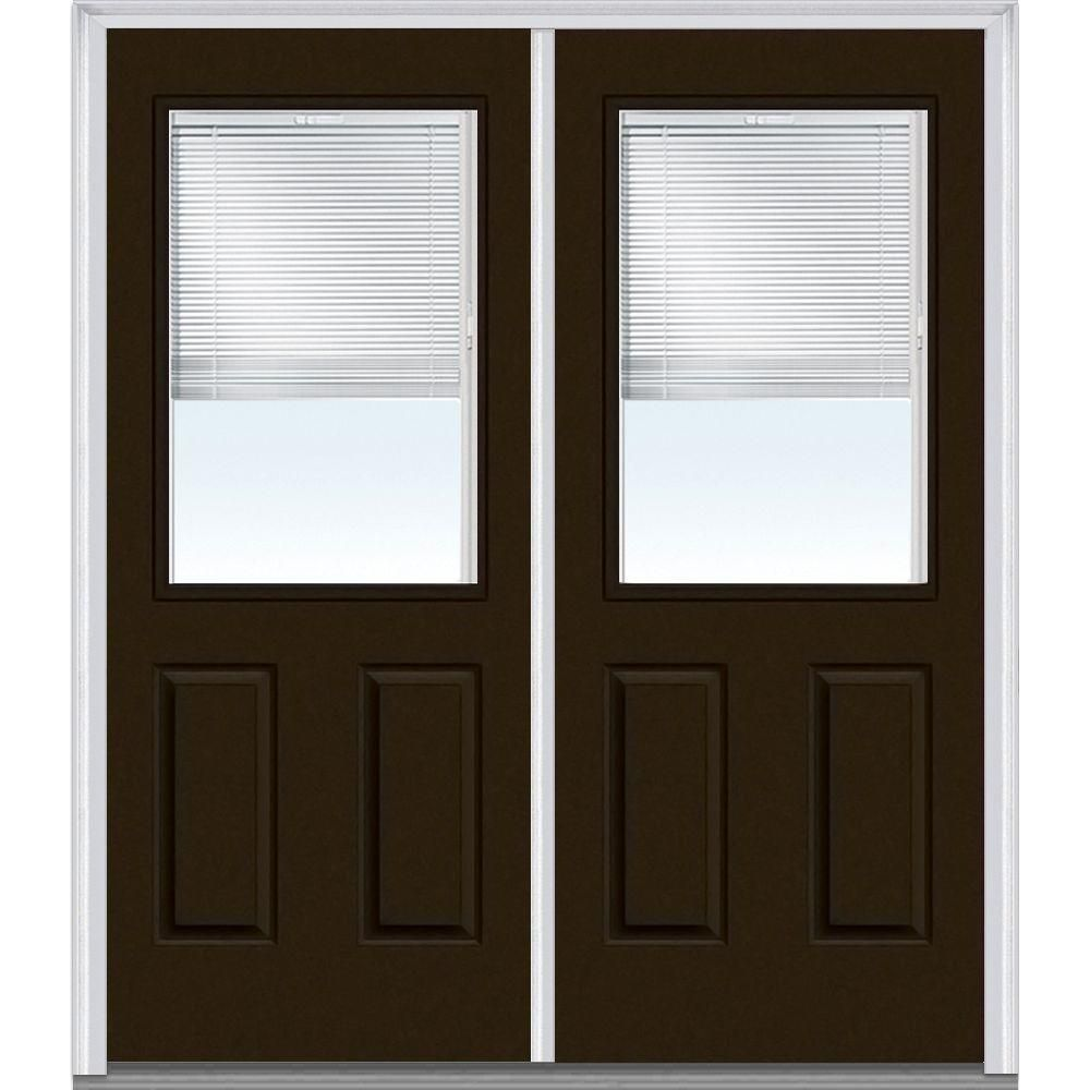 Mmi Door 60 In X 80 In Internal Blinds Left Hand Inswing 1 2 Lite Clear Glass 2 Panel Painted Steel Prehung Front Door Z004328l Prehung Doors Double Doors Exterior Sliding Glass Barn Doors