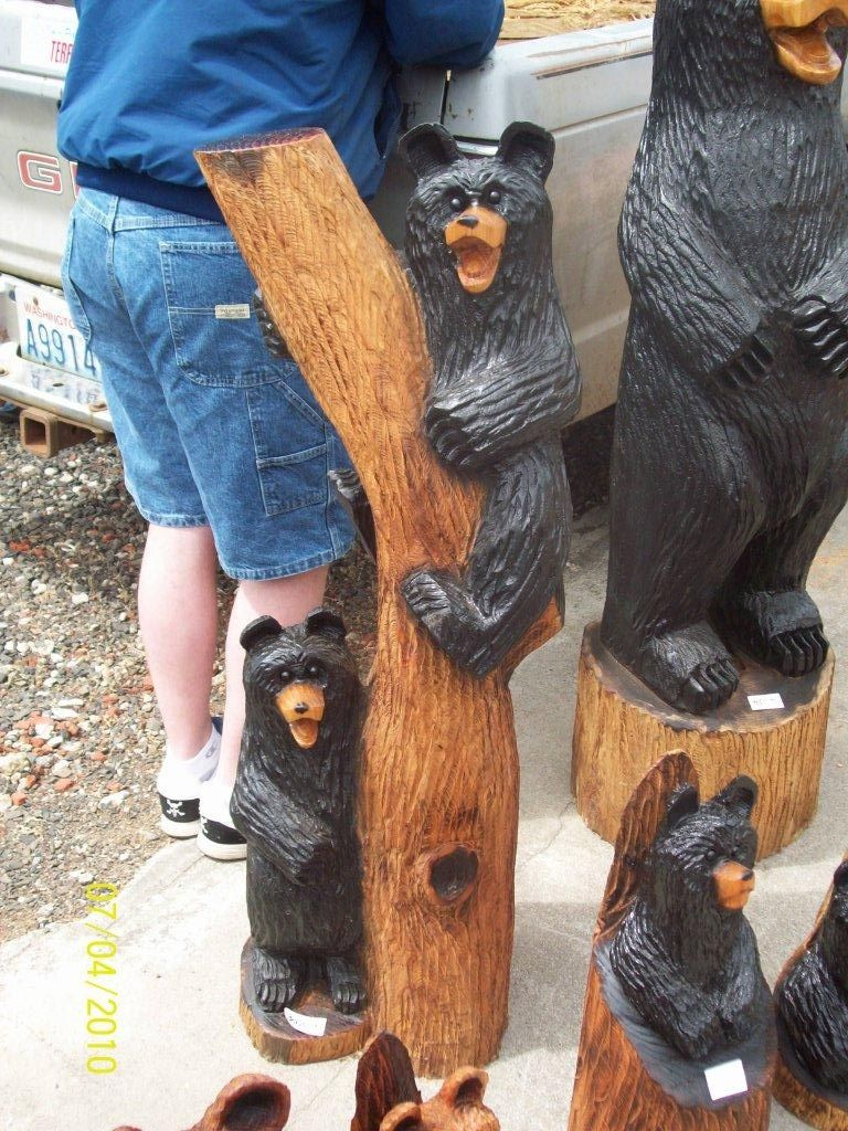 2 foot climbing bears chainsaw carving carving wood art