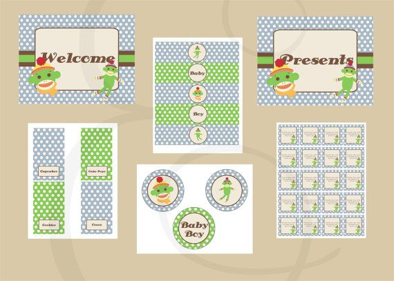 Blue and Green Sock Monkey Baby Shower Printable by EmmyJosParties, $20.00