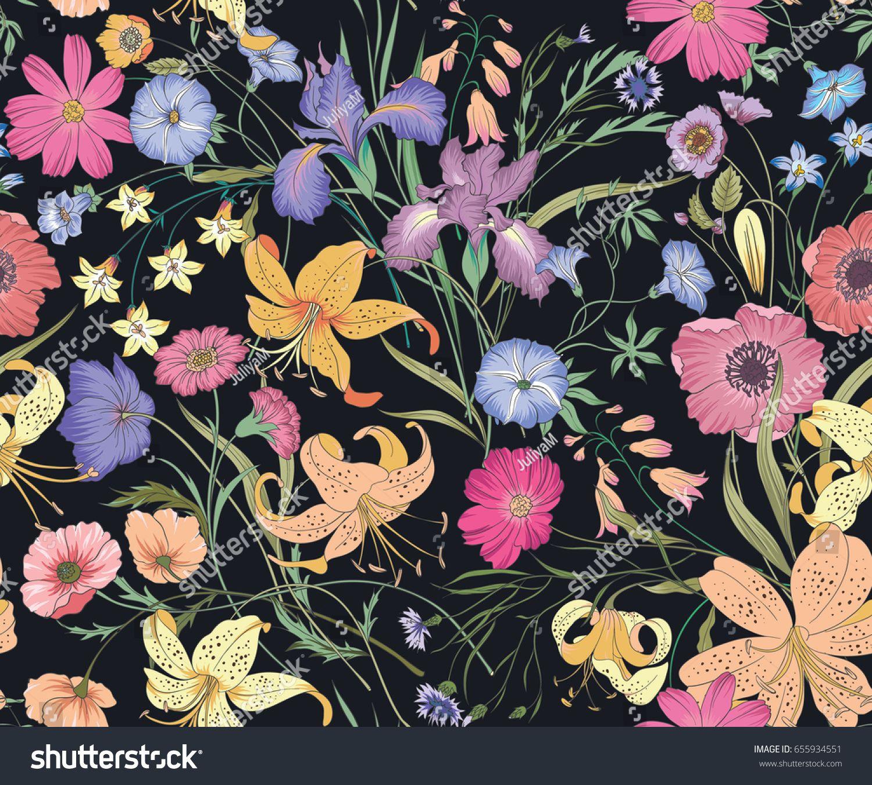 Beautiful seamless floral pattern . Flower vector