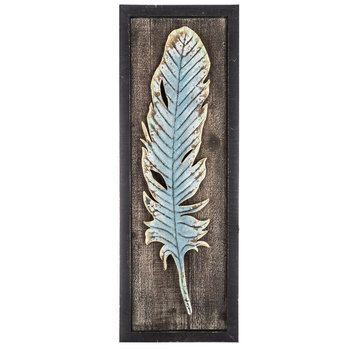 Blue Feather Wood & Metal Wall Decor | Sewing station | Pinterest ...