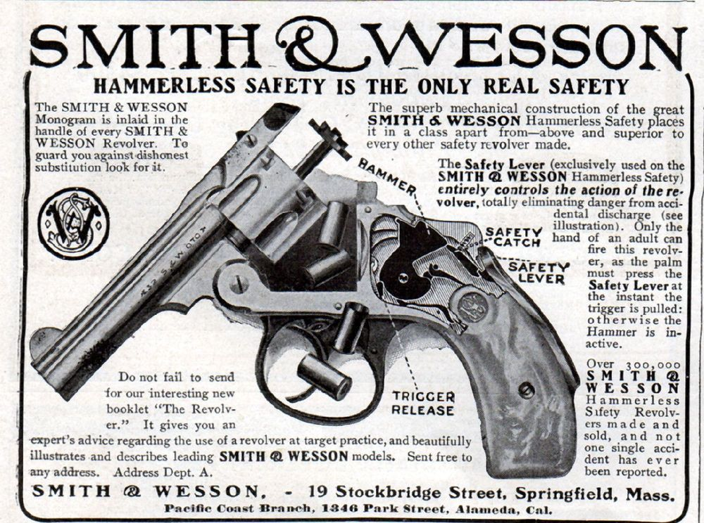 1907 Smith & Wesson Revolver ad, Gun ad --Hammerless Safety--p-121 ...