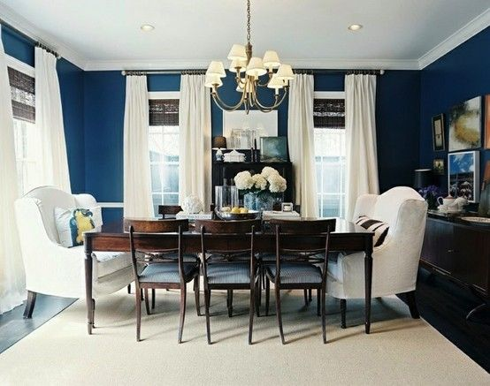This Idea For Master Bedroom Navy Blue Walls Ivory Curtains And Rug