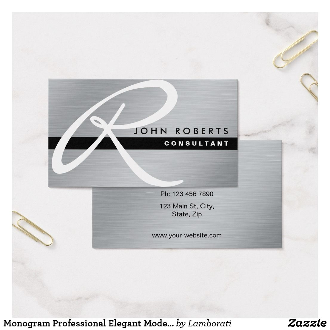 Monogram Professional Elegant Modern Silver Metal Business Card ...