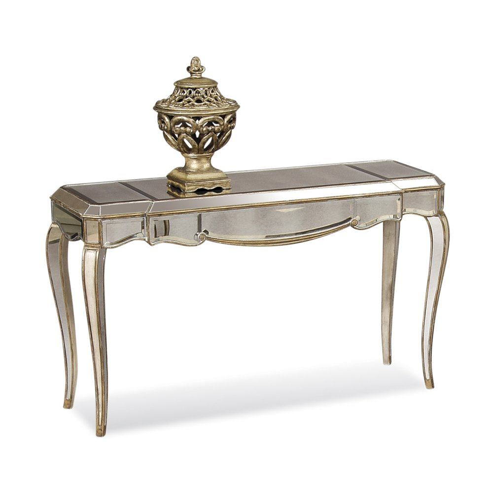 Bassett mirror company carnaby round cocktail leaf new home s - Bassett Mirror Hollywood Glam 19 X 52 Rectangular Antique Mirror Collette Cabriole Leg Console Table