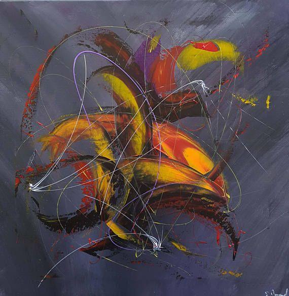 Peinture Moderne Acrylique Jaune Orange Rouge Noir Blanc