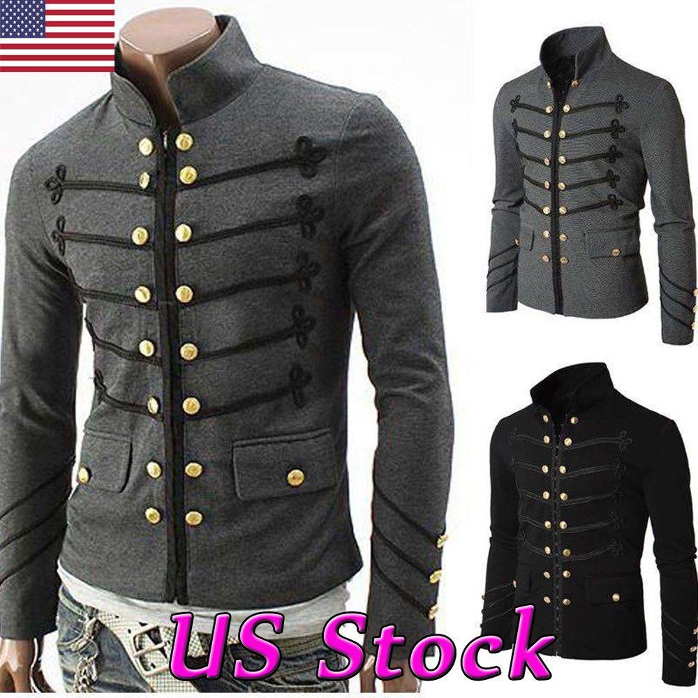 Mens Vintage Military Jacket Rock Victorian Gothic Coat Steampunk Frock Uniform#