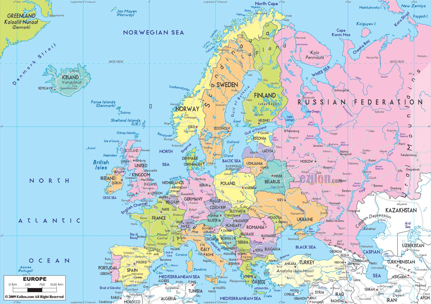 Large Detailed Map of Europe Large detailed political map of