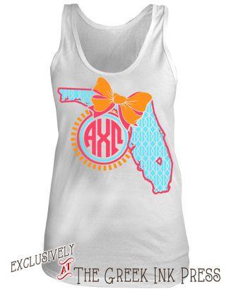 Florida Bow Monogram Sorority T Shirt