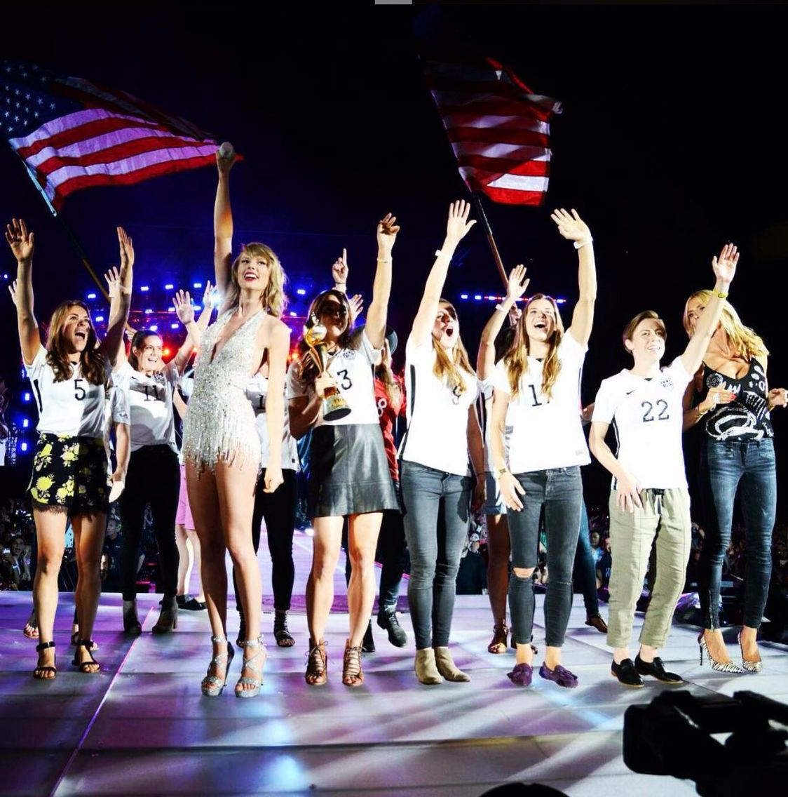 Got to welcome the U.S Women's Soccer Team home after their World Cup Victory-! LOVE THEM AND THEY ARE THE NICEST. #WorldTour1989 -Taylor Swift-