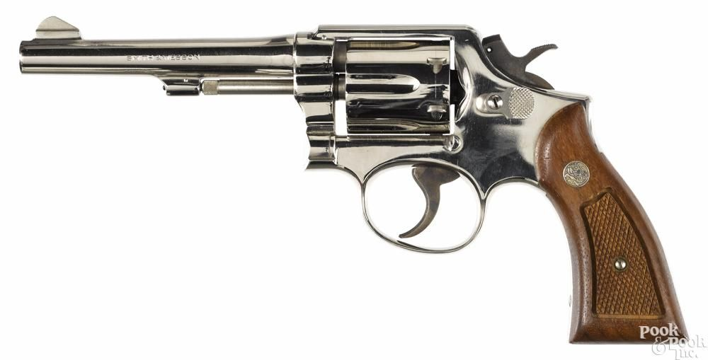 Smith & Wesson model 10-5 six-shot nickel-plated revolver, .38 ...