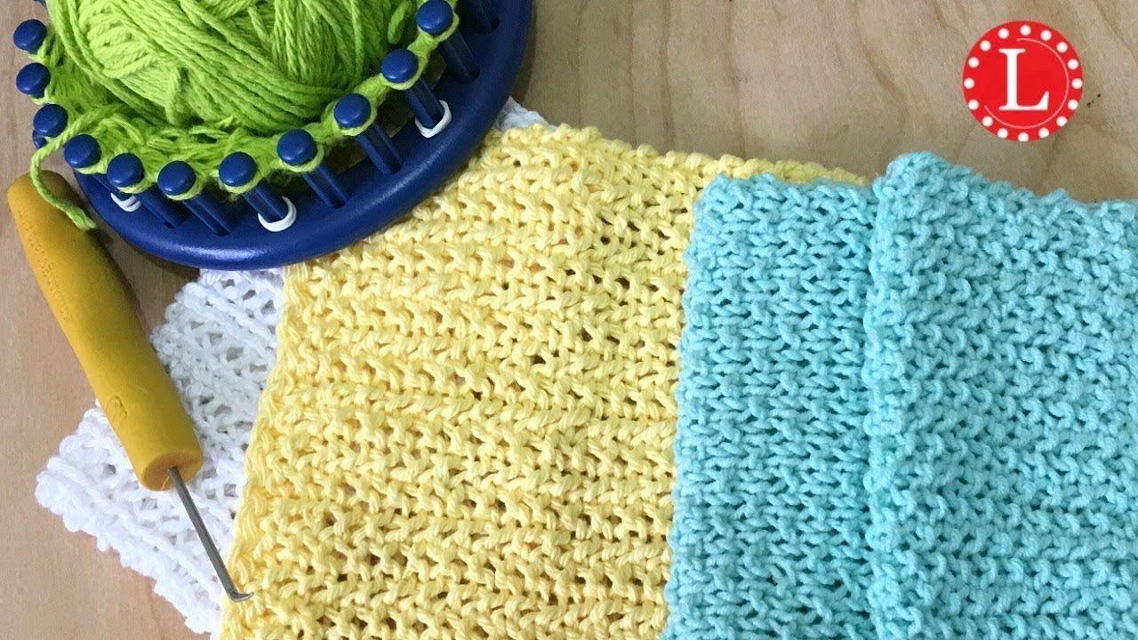 LOOM KNIT Dishcloth / Washcloth Seed Stitch Pattern Easy ...