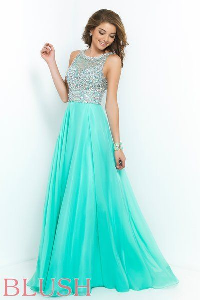 8ca9e1735fc9 Beautiful chiffon gown with high neck and fully beaded mesh bodice. Open  keyhole back and full circle hem. Perfect for your formal event or pageant.