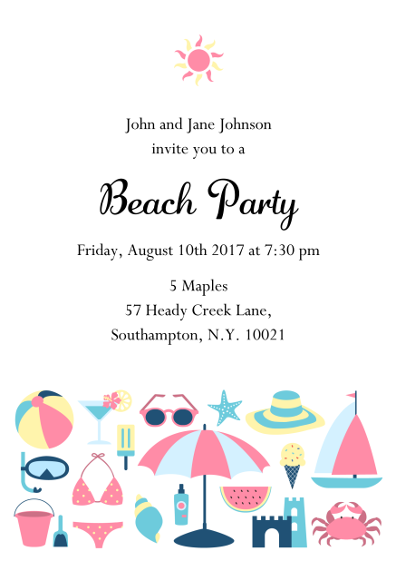 """Summer """"Fun under the sun""""  The sun will shine for your beach party. Send this fun invitation card online or as paper cards and invite to your beach party or pool party or any children's birthday party. Send online with guest management or order paper cards."""