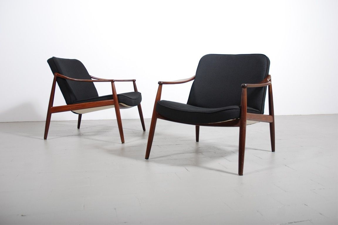 fauteuil vintage scandinave teak tissu 1960 design danois ...