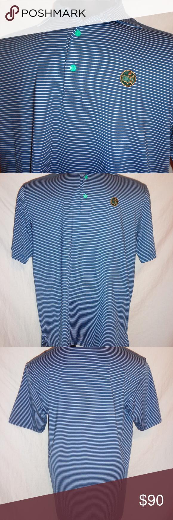 Peter Millar Blue Striped Masters Golf Polo Shirt Peter