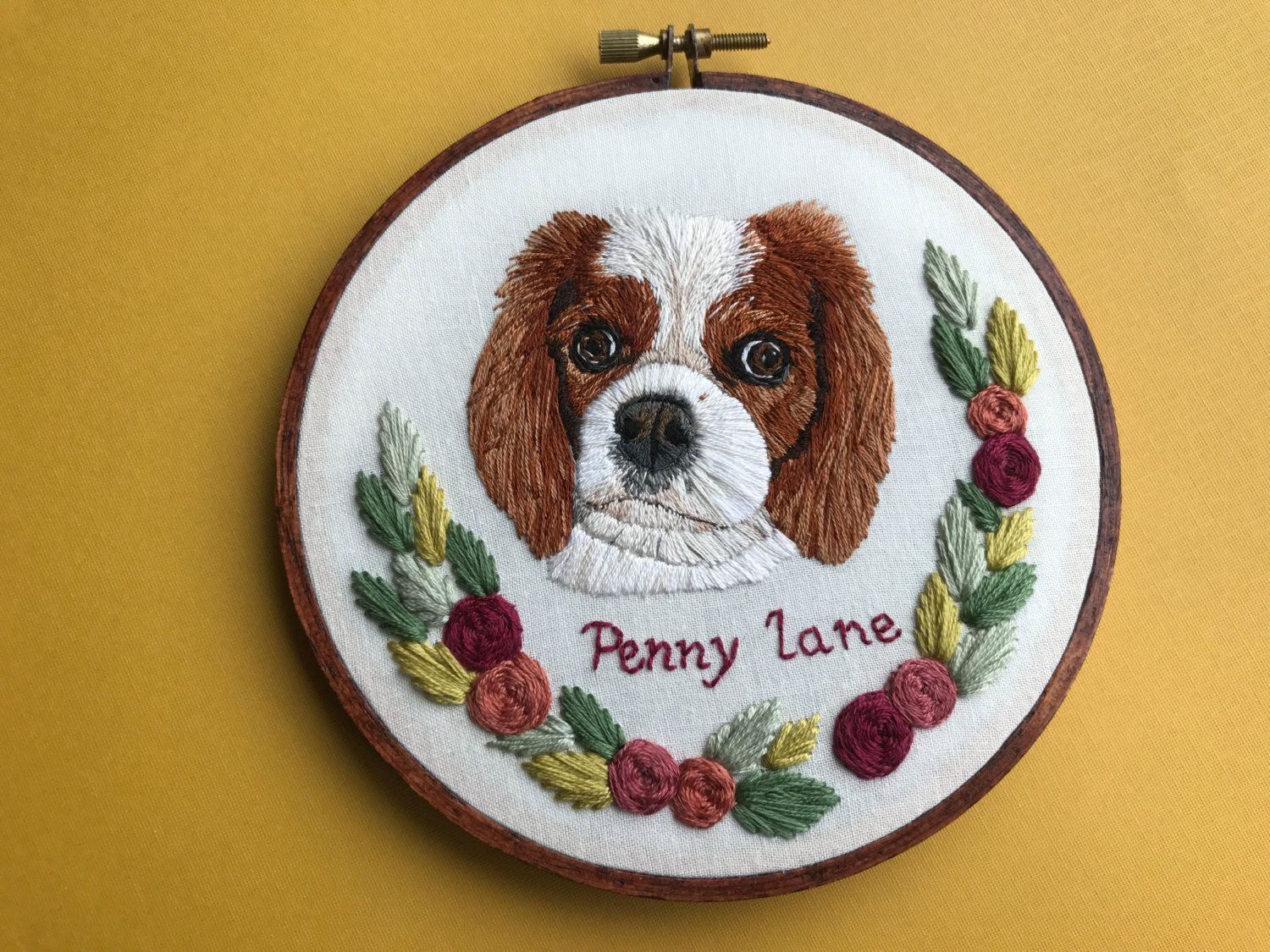 Personalized Custom Pet Portrait Hand Embroidered Hoop Art Home Decor Embroidered Stained Hoop Dog Cat Hoffelt And Hooper Co By Hoffeltandhooperco On Ets