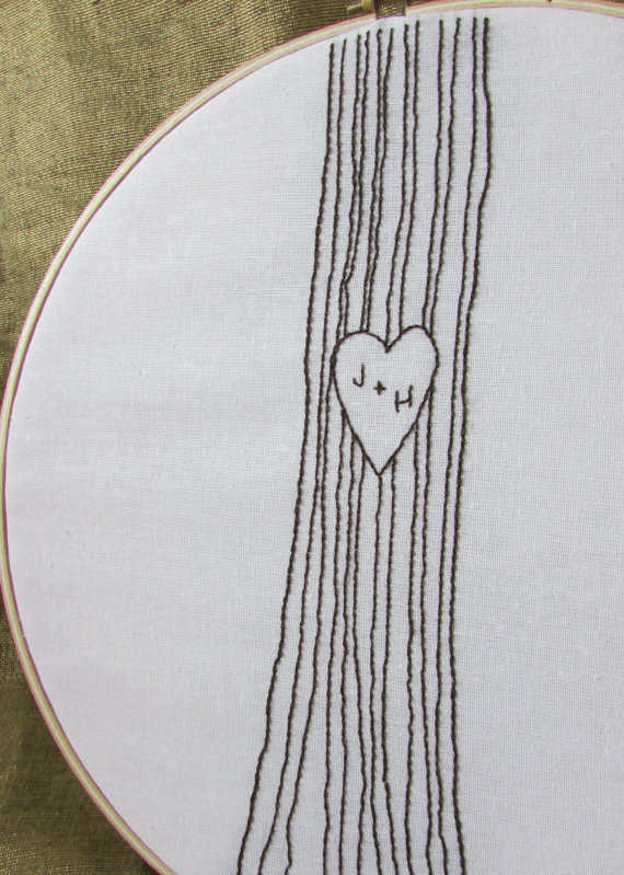Hand Embroidery Pattern Initials In A Tree Support Small