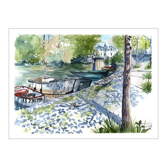 Watercolor French River Landscape Of The Loire River And Boats