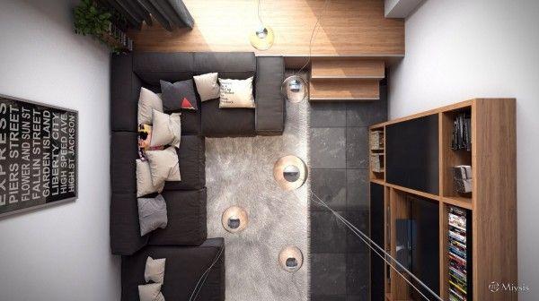 De bird's eye view van de woonkamer geeft een scheutje van kleur op de kussens, net genoeg om je aandacht te krijgen, maar niet zo veel als de eenvoud van de kamers decor bederven.