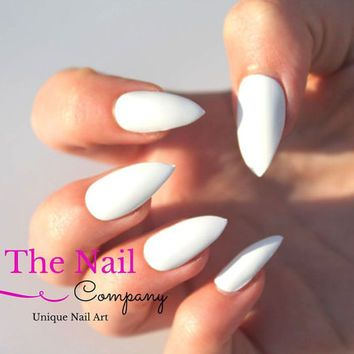 Set Of Glossy White Fake Nails Handpainted False Choose Stiletto Oval