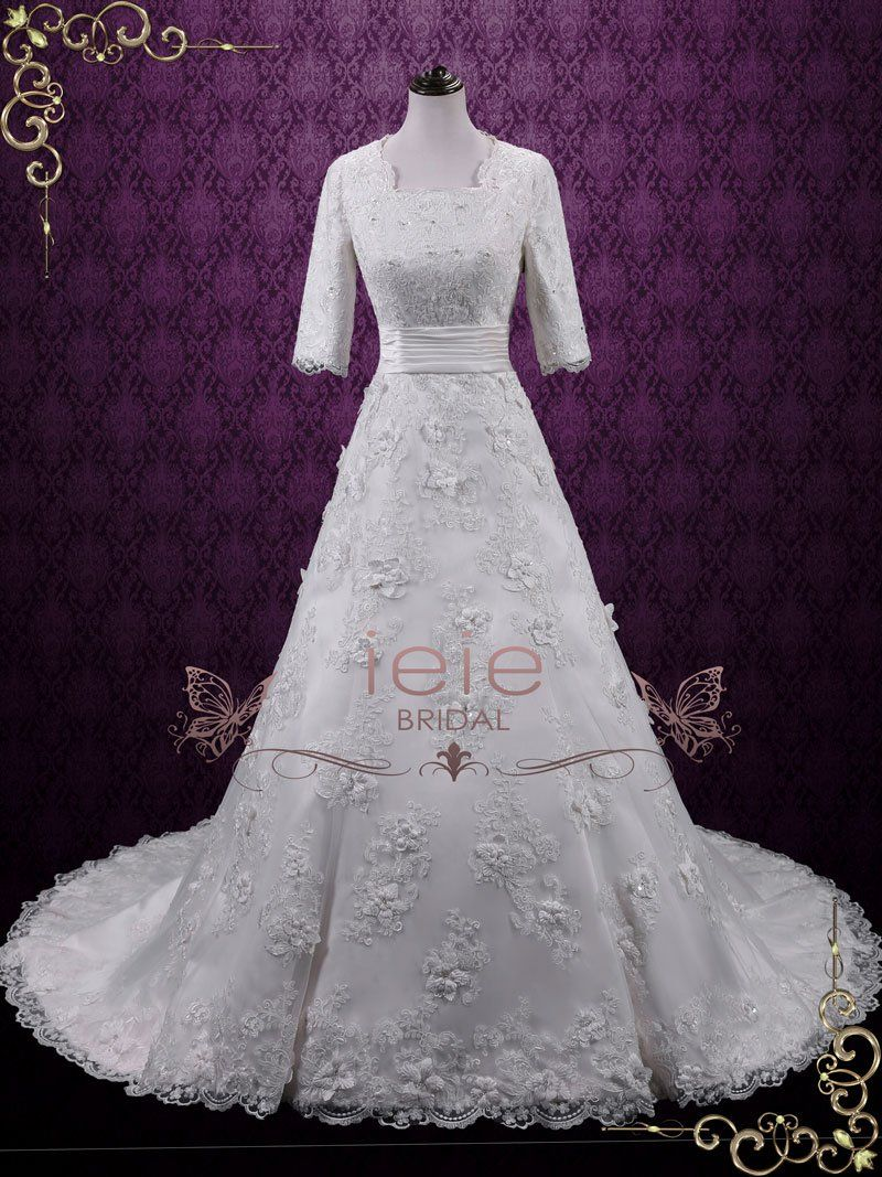 Vintage modest lace aline wedding dress with sleeves agnes in
