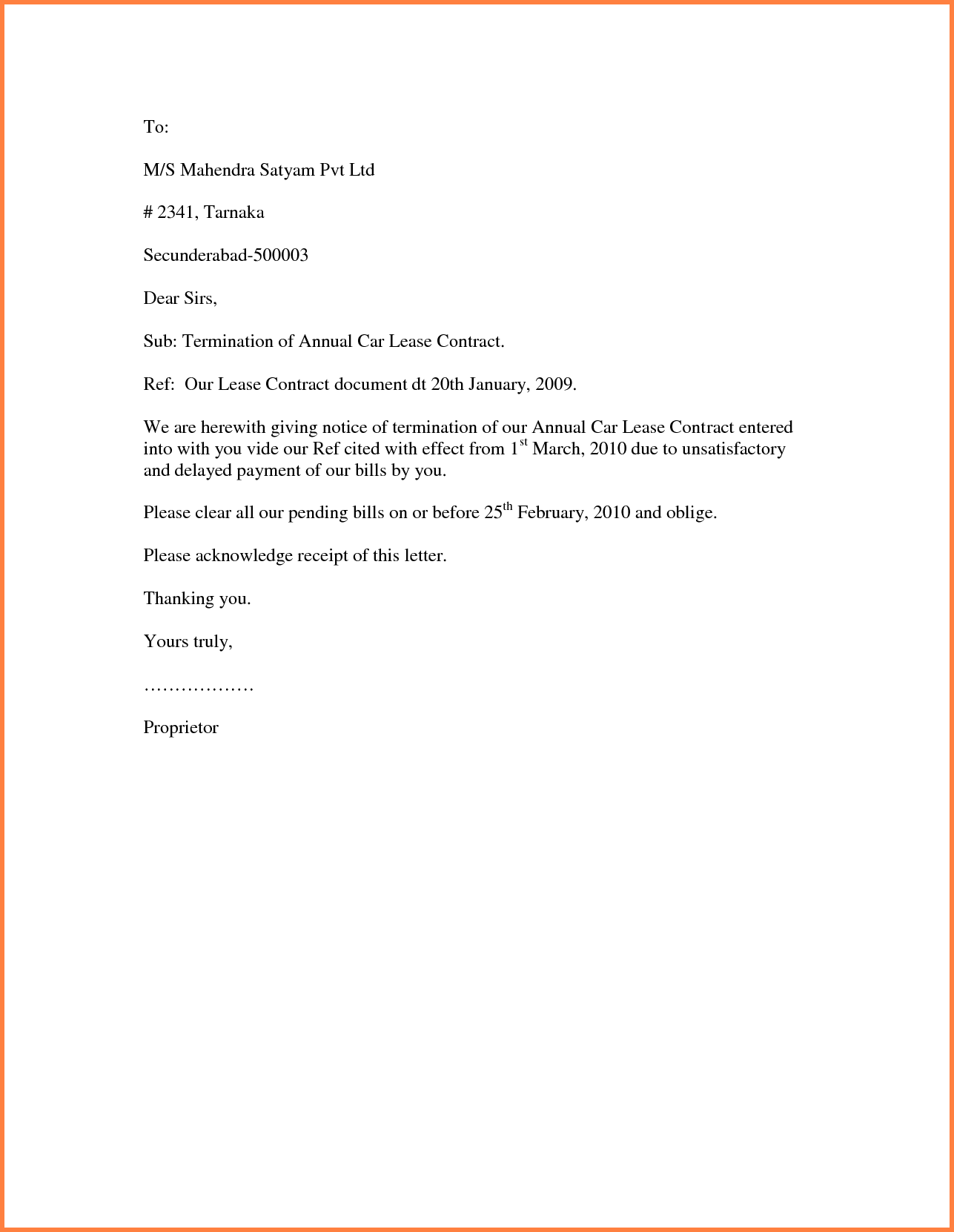 Download Sample Contract Termination Letter Word Format Attorney