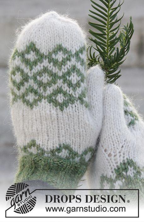 Navidad DROPS: Manoplas de punto DROPS con patrón de jacquard ...