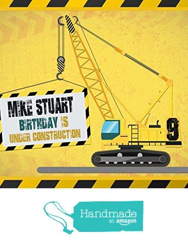 Construction Machine Banner Decoration Birthday Party Poster With Crane