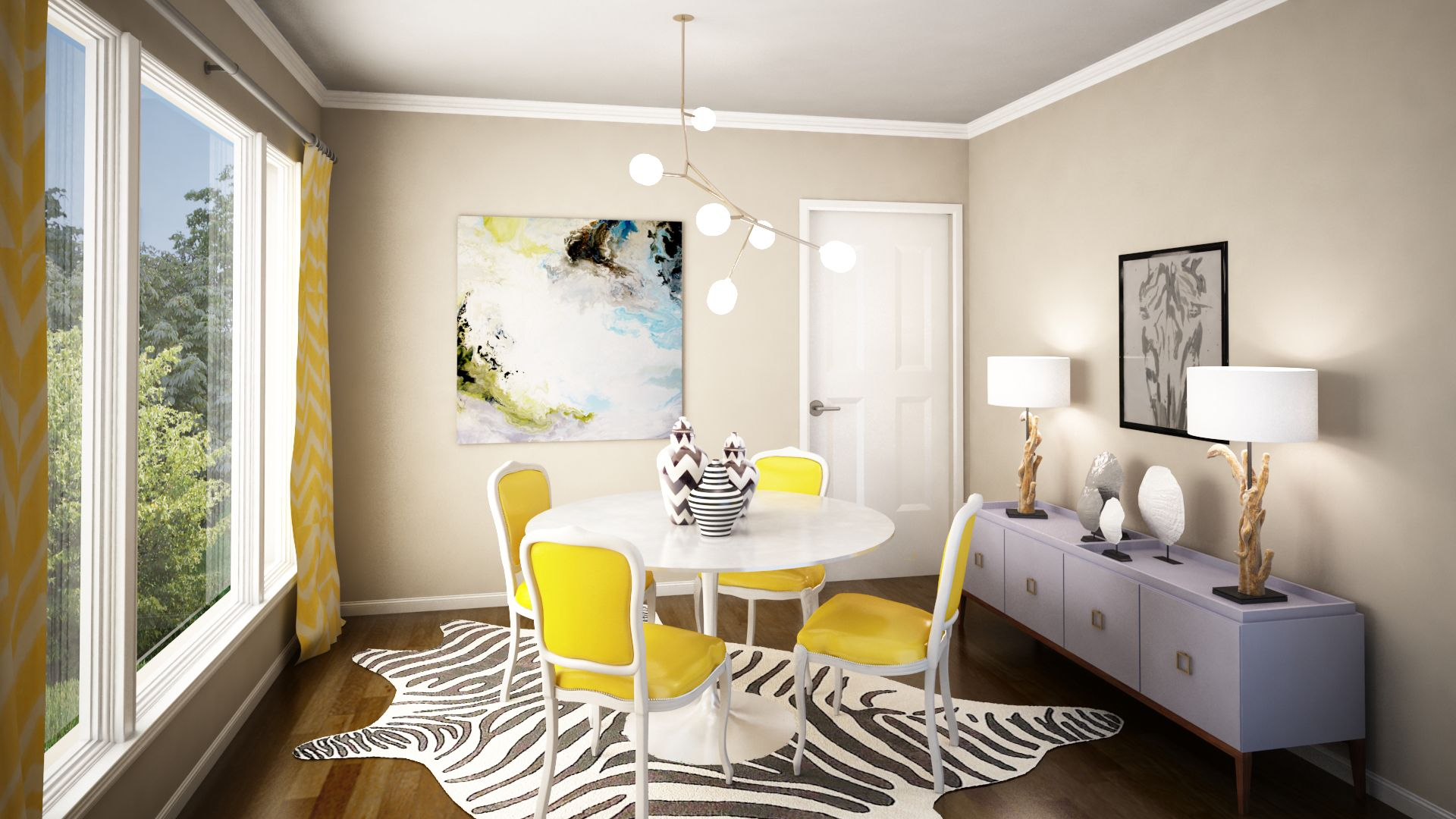 Yellow And Gray Girly Modern Dining Room 3D Rendering  Coddington Alluring Living Room Colors And Designs Review