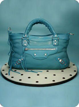Blue Balenciaga bag cake - handbag cakes are everywhere... Balenciaga ones, though, are a whole other level