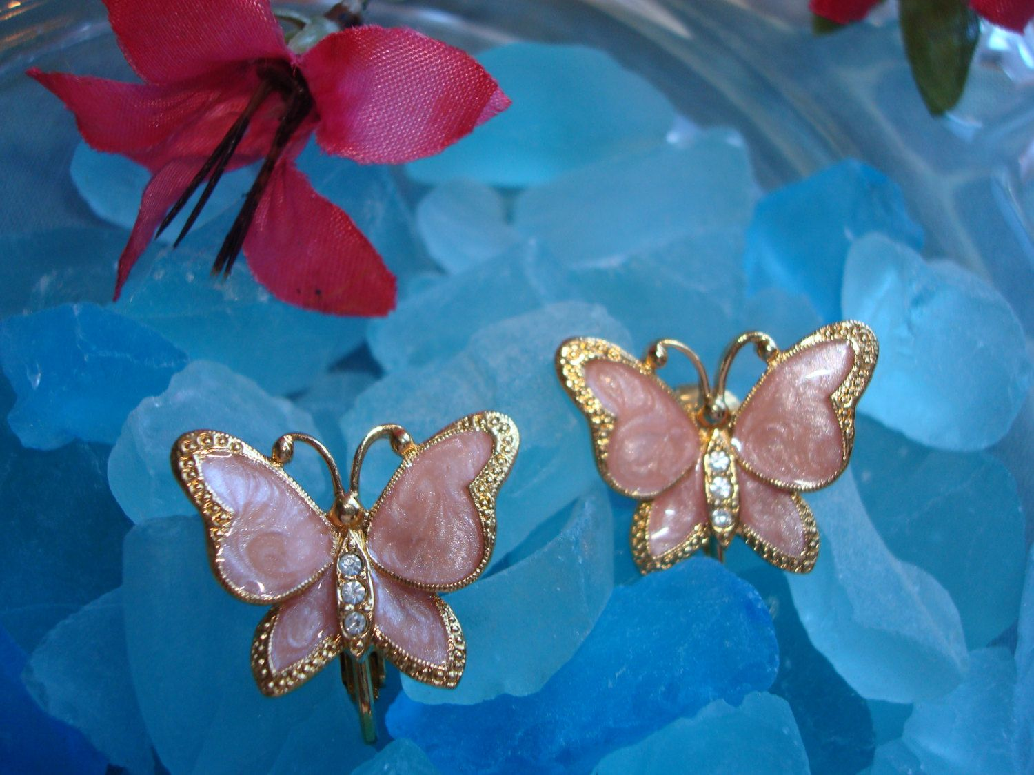 Vintage Clip On Butterfly Earrings with Mother of Pearl, Rhinestones, surrounded by Gold Covered Metal by VintageMonkeyAntique on Etsy