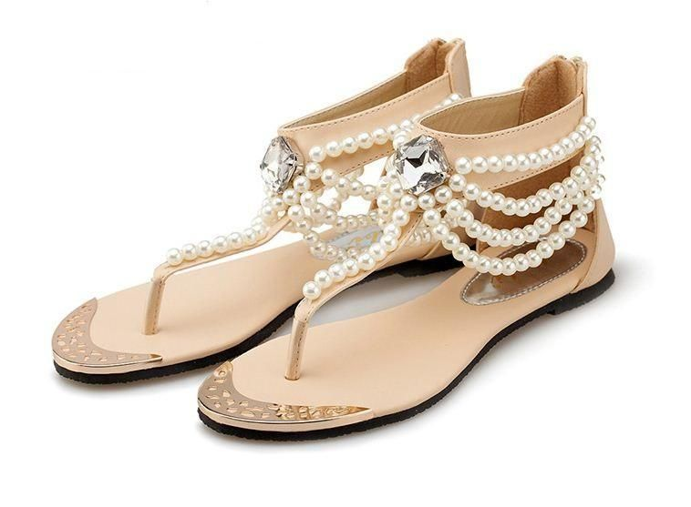 Women T Strap Rhinestone Beads Ankle Flat Sandals In 2020