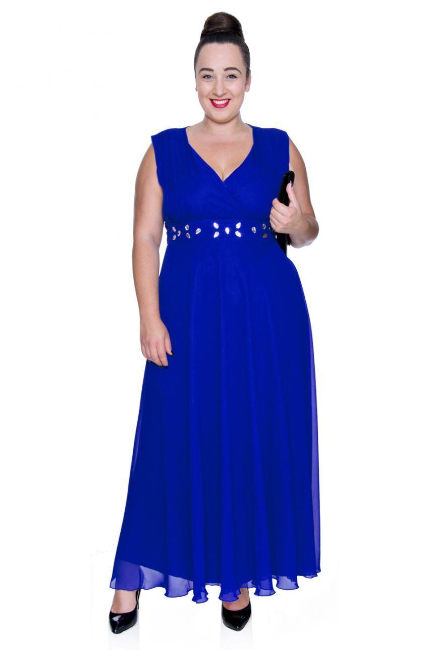 eb7a02bd1b3866 Długa kobaltowa szyfonowa sukienka z szalem - Modne Duże Rozmiary ...