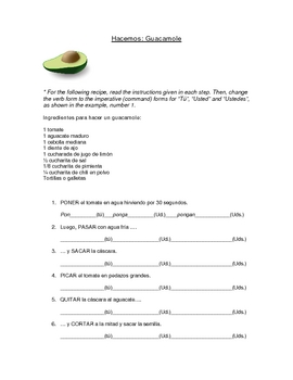 guacamole spanish commands imperative worksheet commands guacamole recipe guacamole. Black Bedroom Furniture Sets. Home Design Ideas