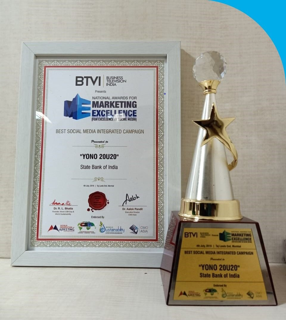 Sbi Is Honoured To Be Awarded The Btvi National Awards For Marketing Excellence For The Best Use Of Social Media In Marketi Social Media Bank Of India Awards