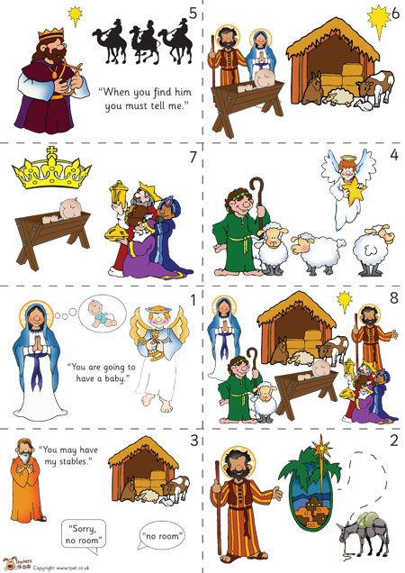Christmas Story For Kids.Teacher S Pet Nativity Story Sequencing Colour Free