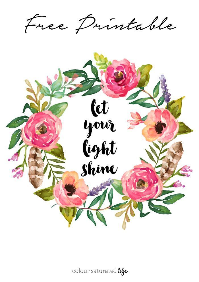colour saturated life free printable let your light shine
