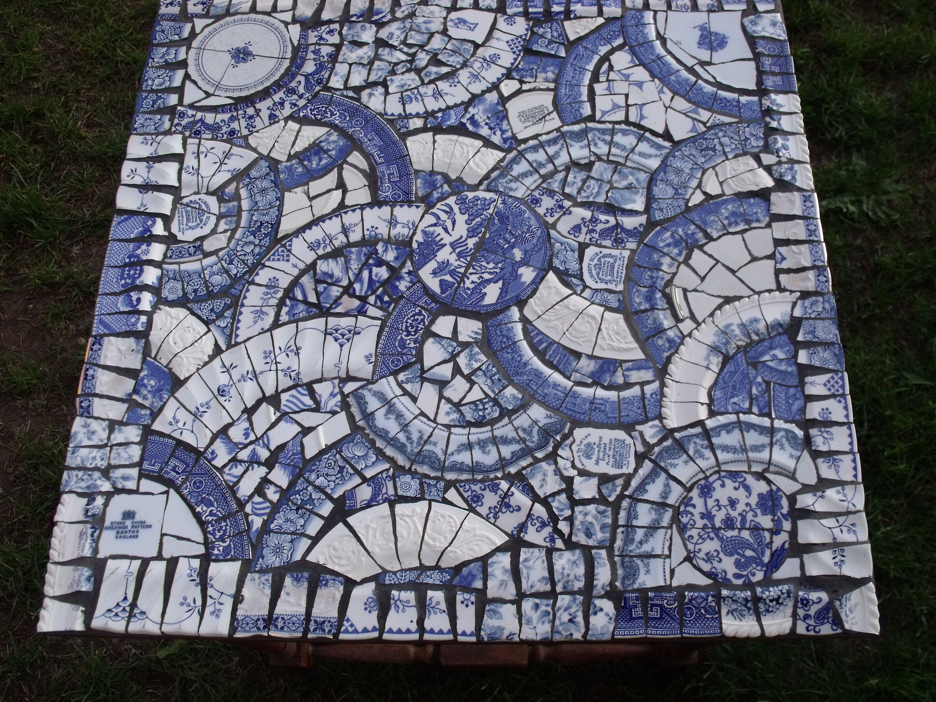 Mosaic Table In Blue And White Vintage China Etsy Blue And White China Mosaic Table Vintage China