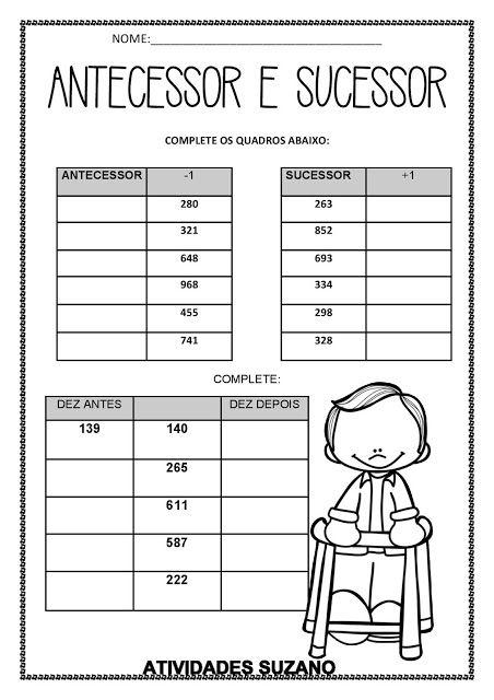 Antecessor E Sucessor Atividades Pedagogica Suzano Com Imagens