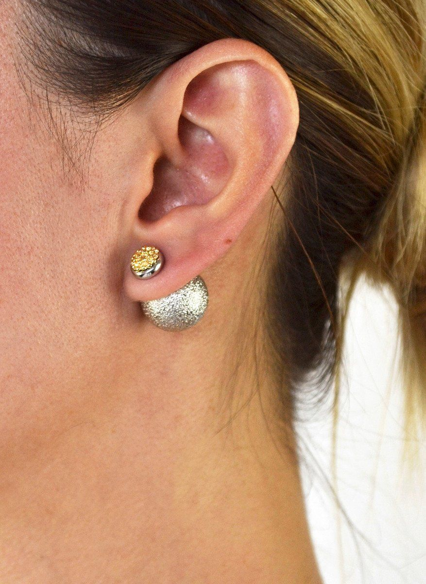 0b9479524 Our Rich Girl Peekaboo Double Sided Earrings are available in gold and  silver plated metal. They feature a textured stud earring at front, ...