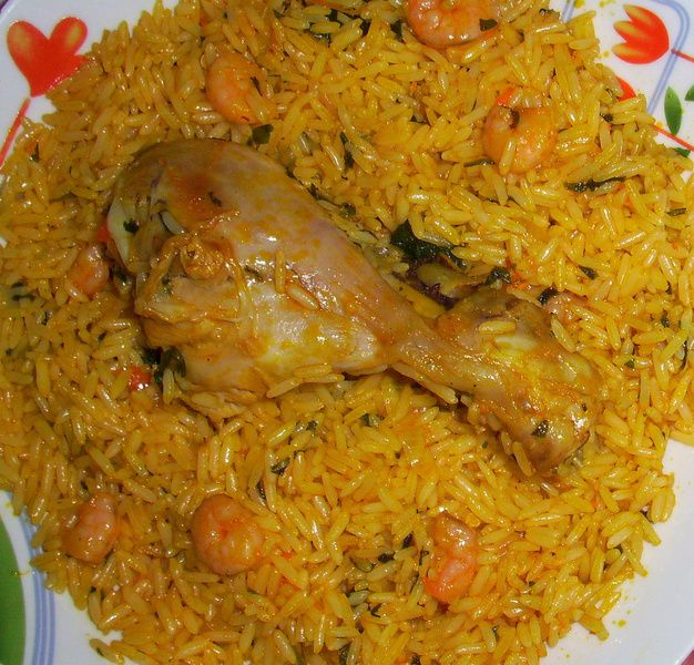 Shrimp jollof rice nigerianfood africanfood for Authentic african cuisine from ghana